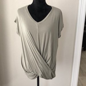 Olive green crossover cotton blouse